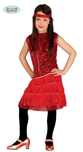 Guirca Rotes 20er Jahre Charleston Kostüm Pailletten Flapper Mädchen Kleid Gr 110-146, Größe:110/116