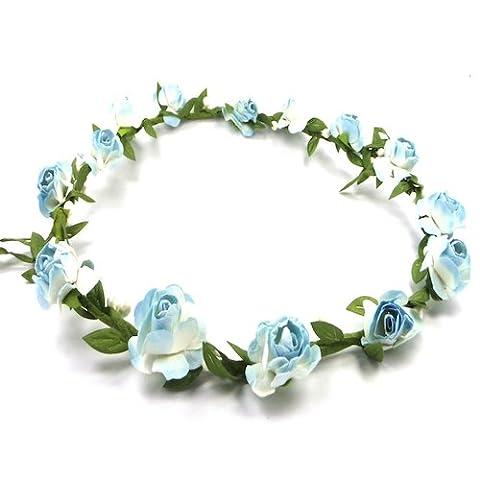 Bride Boutique Wedding Bridesmaid Boho Floral Flower Festival Forehead Headband Hair Garland (Baby Blue