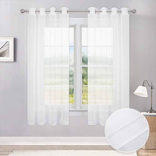Weiß Sheer (PONY DANCE Weiß Sheer Vorhänge Voile Drapes Leinen Look Halbtransparent Sheer Vorhänge für Home Decor Modern 55