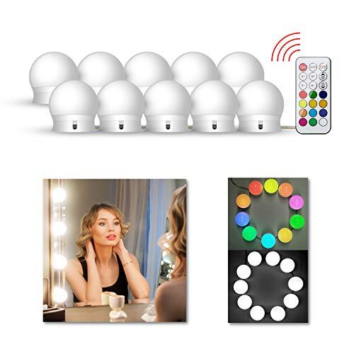 LEDGLE Hollywood Luces LED de Espejo, Tocador Maquillaje Led Kit Usb Cable, 10 Bombillas Dimmable 3 Modos De Color y 10 De Brillo con Control Remoto para Maquillaje y Espejo de Tocador