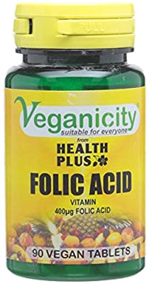 Veganicity Folic Acid 400µg Women's Health Supplement - 2 x Packs of 90 Tablets (Pack of 2, Total 180 Tablets) from Health + Plus Ltd