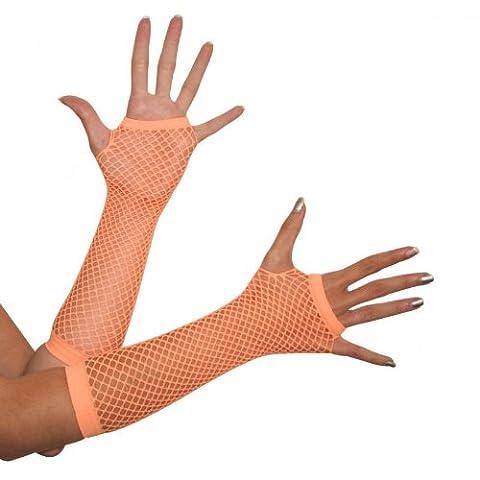 Costume–1paire de gants en résille Orange fluo Mitaines