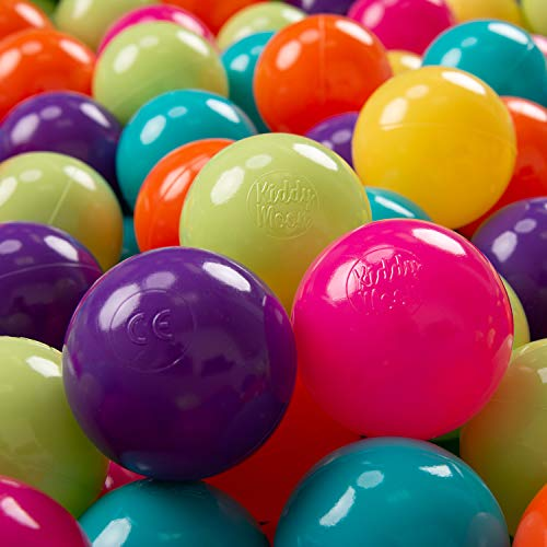 KiddyMoon 200 ∅ 7Cm Bolas Colores De Plástico Para Piscina Certificadas Para Niños, Verdeclr/Amarillo/Turquesa/Naranja/Rosaos/Violeta