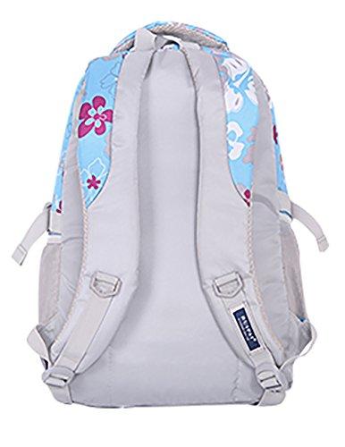 SellerFun® Kid Child Girl Flower Printed Waterproof Backpack School Bag(Blue,Large)