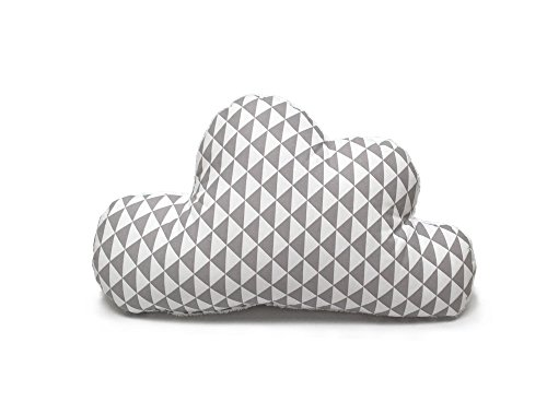 Blausberg Baby - Wolkenkissen, Kissen in Wolken-Form mit Frottee-Seite Dekokissen - alle Materialien OEKO-TEX® Standard 100 zertifiziert - handgefertigt in Hamburg, Deutschland - Dreiecke Grau
