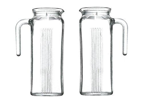 Pasabahce 80050 Frigo Kühlschrankkrug mit Deckel, 1 Liter, für Garten, Party, Terrasse, Balkon, Höhe 22 cm, 2 Stück