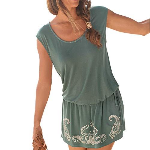 Kleid Reitstiefel (iHENGH Damen Sommer Rock Lässig Mode Kleider Bequem Frauen Röcke Beiläufiges Sleeveless Retro Druck O Ansatz Strand Schlüsselloch Minikleid der Art und Weisefrauen(Grün, S))