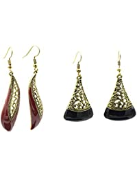 Three Shades Earrings Combo Of Beautiful 2 Dangle & Drop Earring In Black & Maroon Colour Designed For Both Girls...
