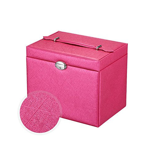 Jewelry Box Earring Necklace Ring Trinket Watch Organizer with Mirror and Lock for Travel Home Storage Rose (Teen Schmuck Organizer)