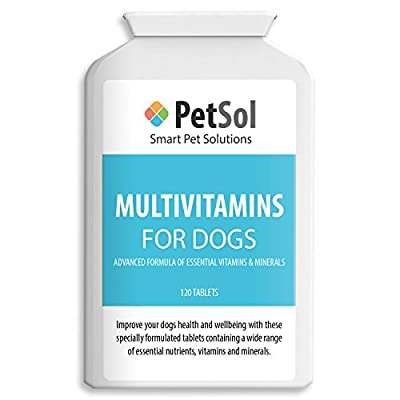 PetSol Multivitamins For Dogs - 120 tablets - Special Formula of Essential Nutrients, Vitamins & Minerals to Improve General Health & Well-being of Your Dog from PetSol
