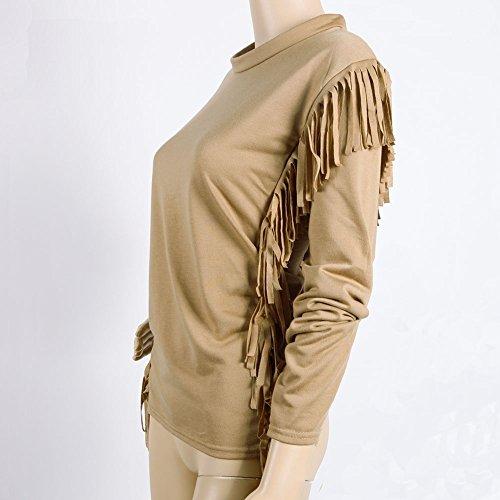 West See Damen Langarm Asymmetrisch Casual TShirts Bluse Tops Oberteil mit Quaste  Khaki