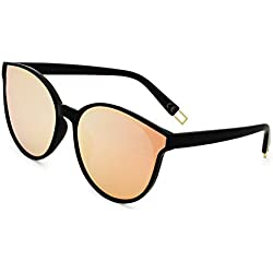 AMZTM Gafas de sol Vendimia Retro para Mujer Gafas de Ojos de Gato Polarizadas Clásicas Moda Espejo Lente Reflectante Grande Cuadro Completo Visión HD Protección UV 400 (Negro Cuadro Rosado Lente, 64)