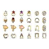 Lurrose 24 Stücke 3D Metall Nail Art Studs Charms DIY Perle Glas Kristall Rivet Edelsteine Nail Art Jewels Dekoration für Mädchen Frauen (Mixed Style)
