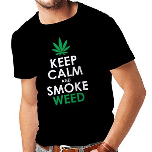 Camisetas Hombre Mantener la Calma y Humo - Hoja de Marihuana (Large Negro Blanco)