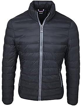 Giubbotto piumino uomo nero slim fit casual giubbino giacca imbottito in  piuma a1cf4ed68ef