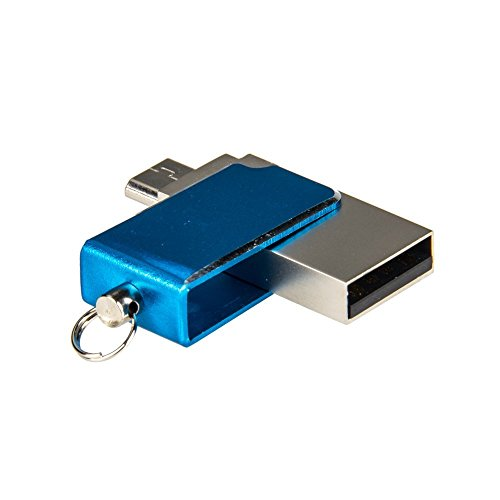 16GB Penna USB 2in1 USB 2.0 + Micro USB OTG Flash Drive in Metallo con Anello Portachiavi per Smartphone Android / Tablet / PC