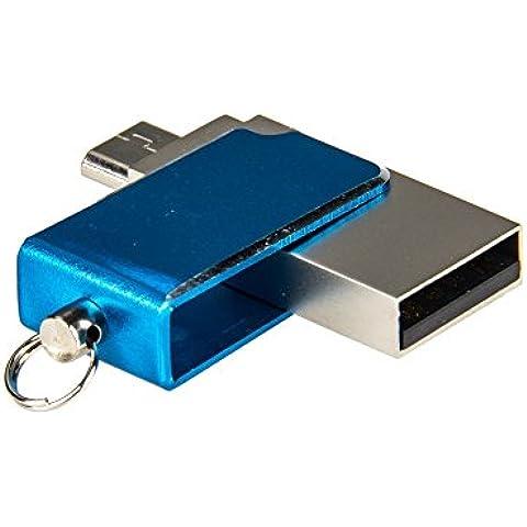 32GB Penna USB 2in1 USB 2.0 + Micro USB OTG Flash Drive in Metallo con Anello Portachiavi per Smartphone Android / Tablet / PC - 3 Pin Gomma Connettore