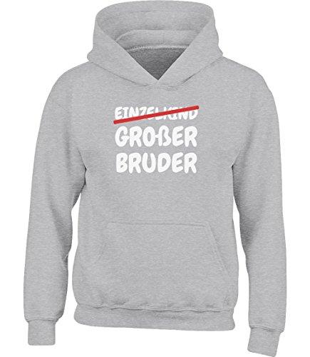 Geschenk Großer Bruder statt Einzelkind Kinder Kleinkind Hoodie Kapuzenpullover 5-6 Jahre (105-116) Grau Bruder Hoodie