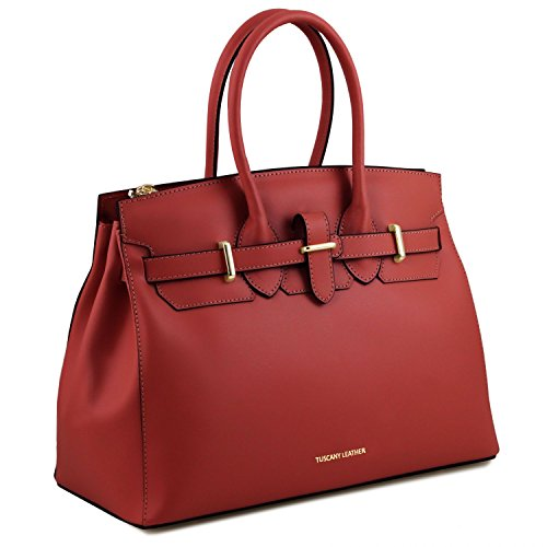 Tuscany Leather Elettra Borsa a mano media in pelle con accessori oro Nero Rosso