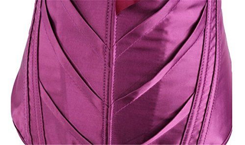 Women's Victorian Sweetheart Satin Bow-Knot Overbust Corset Bustier Basque Top Purple