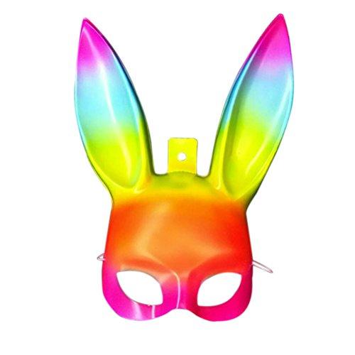 e Maskerade Bunny Rabbit Maske Kostüm für Ostern Halloween Cosplay Party Zubehör (Rainbow Color) (Oster Bunny Kostüm Für Erwachsene)