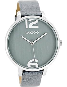 Oozoo Damenuhr mit Lederband 42 MM Graublau/Graublau C8343