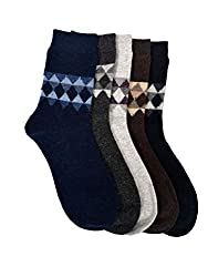 VINENZIA 5 Pair acrowool dotted crew length mens winter socks