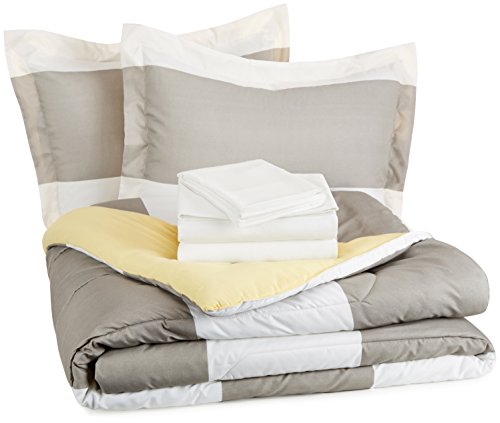 AmazonBasics 7-Piece Bed-in-A-Bag - Full/Queen, Reversible Grey Stripe (Includes 1 bedsheet, 1 Comforter, 4 Pillowcases, 1 Fitted Sheet)
