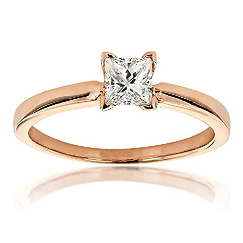 Luxurman Ladies 14K Princess Cut Natural 0.4 Ctw Diamond Solitaire Engagement Ring (Rose Gold Size 5.5)