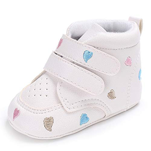 Trunlay Baby Schuhe Mädchen Junge Herzförmig Stickerei Hoch Schnitt Schuhe Weiche Lauflernschuhe rutschfest Krabbelschuhe Turnschuhe Sneaker Neugeborene Schuhe für 0-18 Monate -