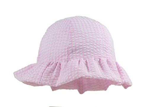 Baby Pink Gingham  Cloche Sun Hat With Frill Pesci Baby