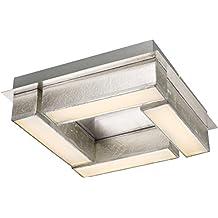 Fesselnd LED Deckenlampe 1 Flammig Flurlampe Schlafzimmerlampe Textil 30 Cm Silber  (Deckenbeleuchtung Aus Stoff, Deckenleuchte