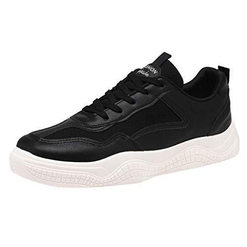 YEARNLY Damen Herren Laufschuhe Schnür Sneaker Sport Fitness Turnschuhe Beige, Weiß, Schwarz Gr.39-43