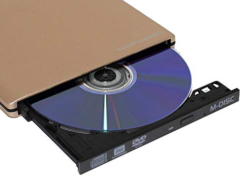 techPulse120 DVD Brenner M-Disc externes CD Laufwerk Ultraslim Alu Gold Superdrive Portable DVD-RW CDRW Slim für Computer PC Notebook Ultrabook Netbook Laptop Windows MacOS Apple iMAC MacBook Pro Air