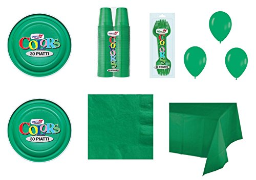 Coordinato monocolore verde per feste e eventi - kit n°26 cdc - ( 60 piatti, 100 bicchieri , 100 tovaglioli,1 tovaglia , 60 forchette , 100 palloncini)