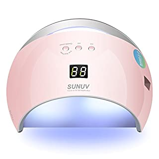SUNUV 36W UV LED Nail Gel Lamp Nail Light Nail Dryer for Nail Gel Polish with 30/60/99S Timer Fast Double Curing Sensor Removable Bottom Tray SUN6 (Pink)