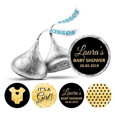 Darling Souvenir 190 Pcs Es ist ein Mädchen Theme individuelle Aufkleber für Hershey Kisses Süßigkeit Labels-Schwarz-Gold-Glitter