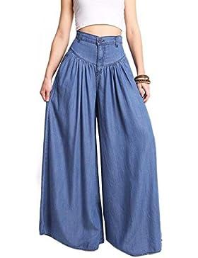 Plus Tamaño De Las Mujeres Casual Pantalones Pantalones De Pierna Ancha Cintura Alta Suelto