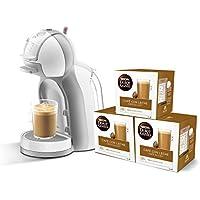 Pack Krups Dolce Gusto Mini Me KP1201 - Cafetera de cápsulas, 15 bares de presión, color blanco y gris + 3 packs de café Dolce Gusto Con Leche