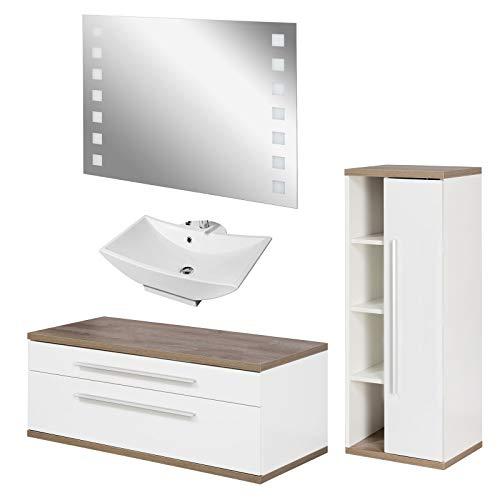 FACKELMANN weisses Badmöbel Set Aufsatzwaschbecken hängend & LED Badspiegel 110 cm 4 teilig