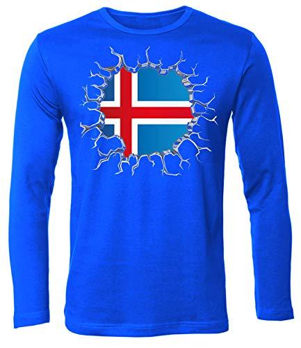 Island Iceland Fan t Shirt Artikel 5719 Fuss Ball Langarm Longsleeve EM 2020 WM 2022 Team Trikot Look Flagge Fahne Männer Herren Jersey Jungen L -
