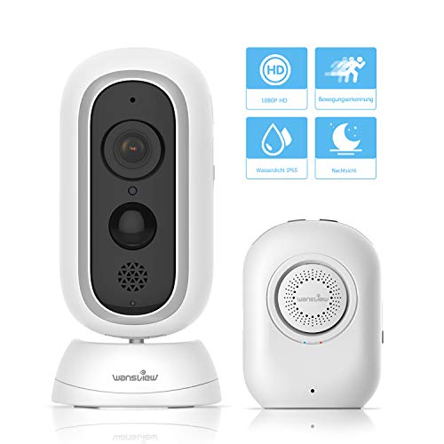 Akku Überwachungskamera, Wansview Kabellos IP Kamera 1080P HD for Indoor/Outdoor mit PIR Sensor, Zwei-Wege Audio, Nachtsicht und Micro SD Kartenslot B1
