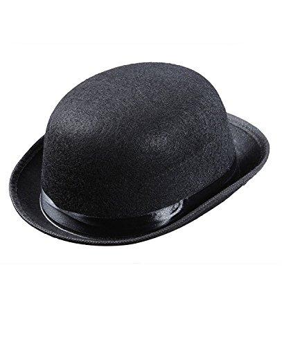 Bowler Hüte Kappen mit Kopfbedeckungen für Fancy Dress Kostüm (schwarz) (Kostüm Bowler Hut)