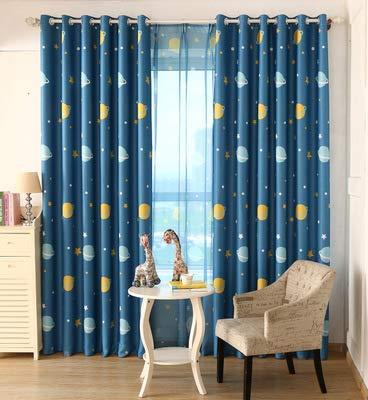 adaada Vorhänge Für Kleine Fenster,Vorhänge Blauer Planet Kinderzimmer,Vorhänge Kinderzimmer,2er Set (160X100cm, Blau Stoffvorhänge)