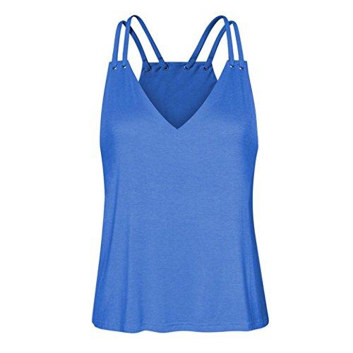 OverDose Damen Bandagen ärmellose Weste Top Musical Notes Drucken Strappy Tank Tops Bluse T Shirt(Q-e-Blau,XL) (Winter-willkommen Kreuz)