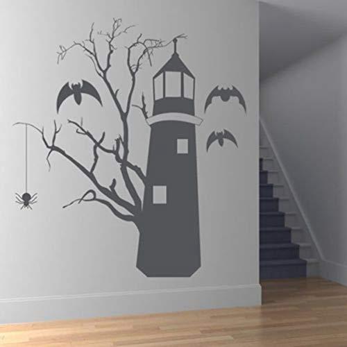 Wandtattoo Kinderzimmer Wandtattoo Wohnzimmer Creepy Tree Scene For Family Living Room Holiday Murals Windows Halloween Sticker for bedroom (Halloween Tree Family)