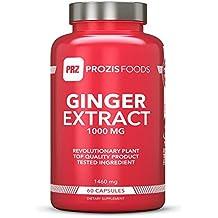 Prozis Ginger Extract 1000mg 60 Kapseln - Nahrungsergänzungsmittel zur Unterstützung der Verdauung und des Magen-Darm-Trakts - 30 Portionen