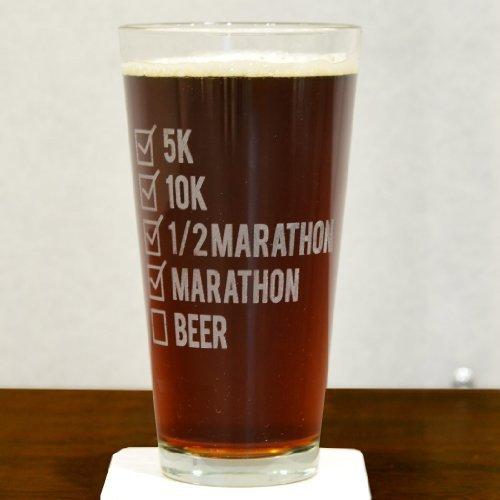 Läufer Checkliste Gravur Bier Pint Glas von Gone für ein Run | 20Oz