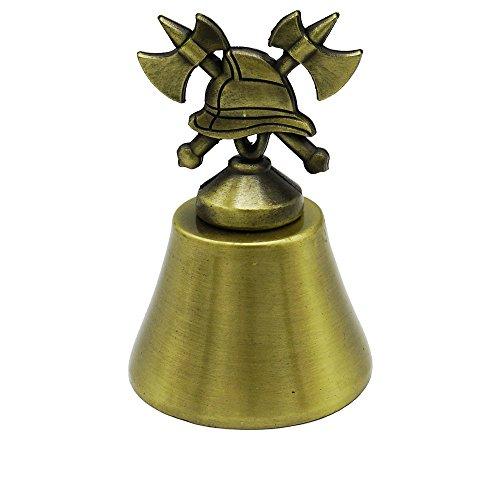 Goldene Feuerwehr Glocke mit Symbol-Griff aus gekräuzten Äxten und Feuerwehrhelm - Glöckchen Feuerwehrleute zu Ehrungen, Beförderungen, Weihnachtsfeier, Tombola Preis