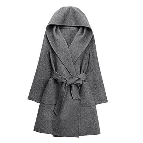 Vertvie damen wintermantel Herbst Fleece Trenchcoat Wollmantel übergangsjacke Parka Lange mit Kapuzen und Gürtel (XL,